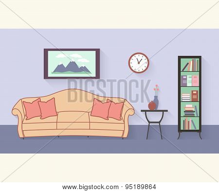 Living room with furniture and long shadows. Flat style vector