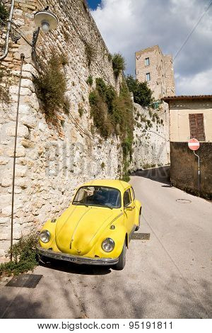 Old Beetle Car In Umbria, Italy