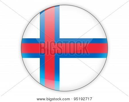 Round Icon With Flag Of Faroe Islands