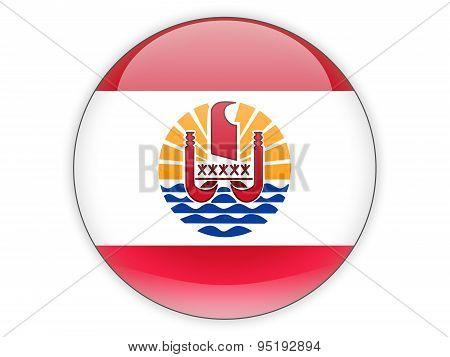 Round Icon With Flag Of French Polynesia