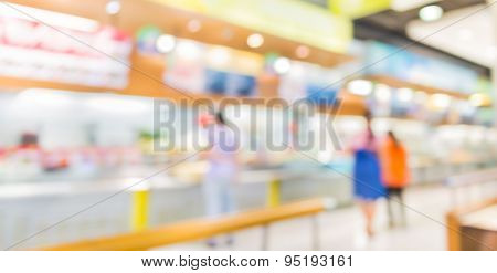 Blur Image Of Restaurant Or Food Center With Light Bokeh Foy Background