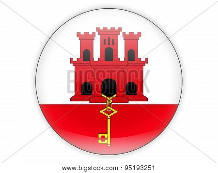 Round Icon With Flag Of Gibraltar