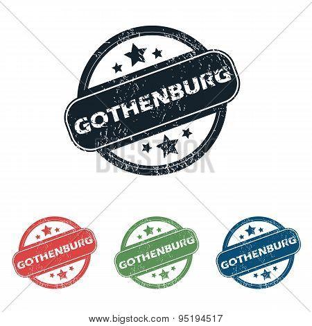 Round Gothenburg city stamp set
