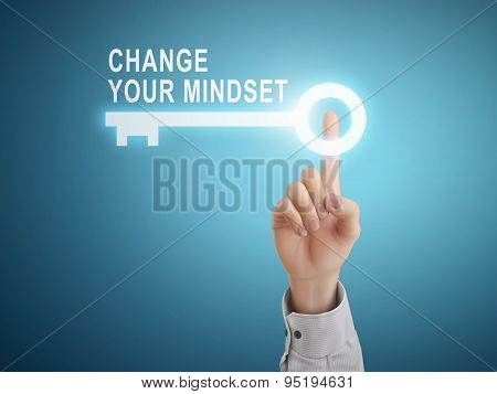 Male Hand Pressing Change Your Mindset Key Button