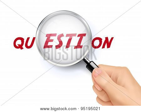 Question Word Showing Through Magnifying Glass