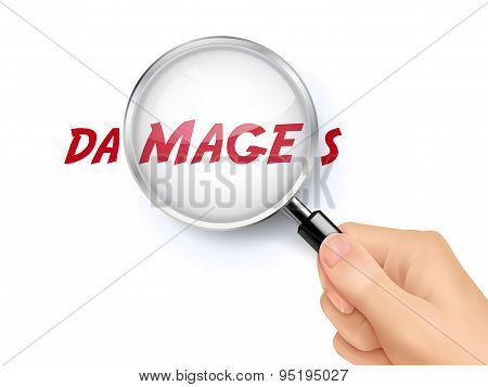 Damages Word Showing Through Magnifying Glass