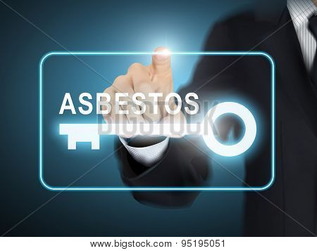 Male Hand Pressing Asbestos Key Button