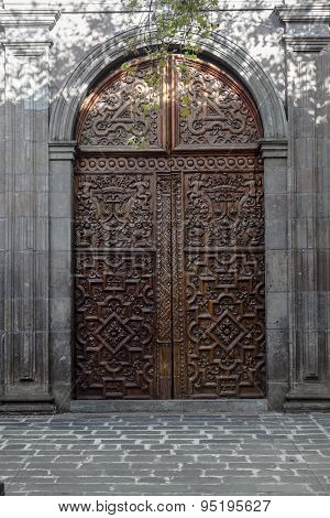 Carved Wooden Door, Church Carmen Bajo, Quito, Ecuador