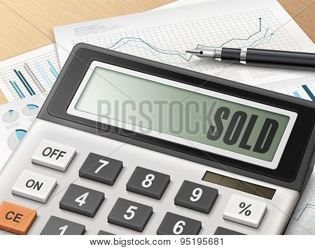 Calculator With The Word Sold