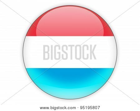 Round Icon With Flag Of Luxembourg