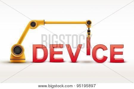 Industrial Robotic Arm Building Device Word