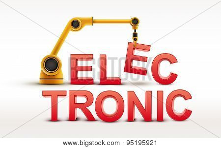 Industrial Robotic Arm Building Electronic Word