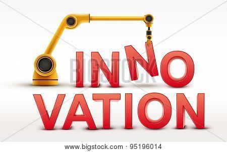 Industrial Robotic Arm Building Innovation Word