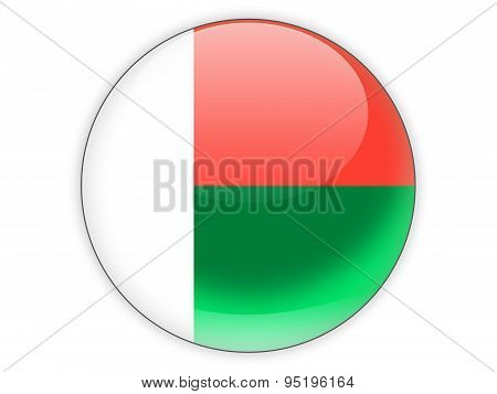 Round Icon With Flag Of Madagascar