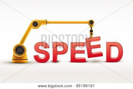 Industrial Robotic Arm Building Speed Word