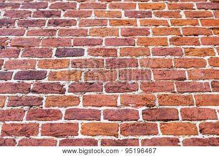 Old Red Brick Wall Obliquely