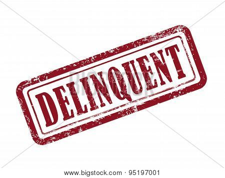 Stamp Delinquent In Red