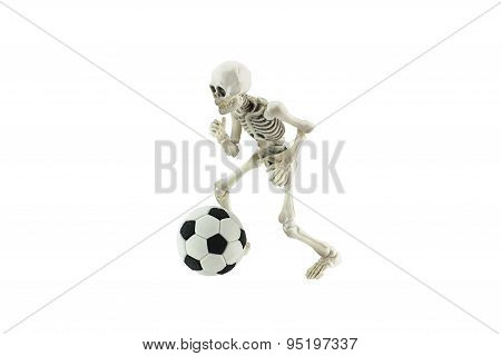 Skeleton Cotrol A Soccer Ball Isolated On White Background