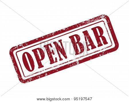 Stamp Open Bar In Red