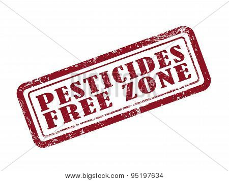 Stamp Pesticides Free Zone In Red