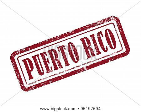 Stamp Puerto Rico In Red