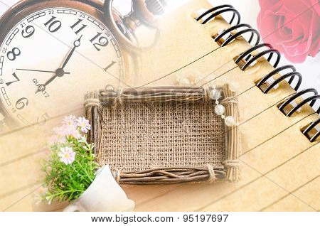Vintage Clock And Diary With Sack Photo Frame