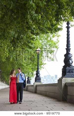 Romantic Couple Holding Hands In London, England