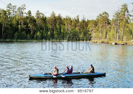 Swimming On A Canoe