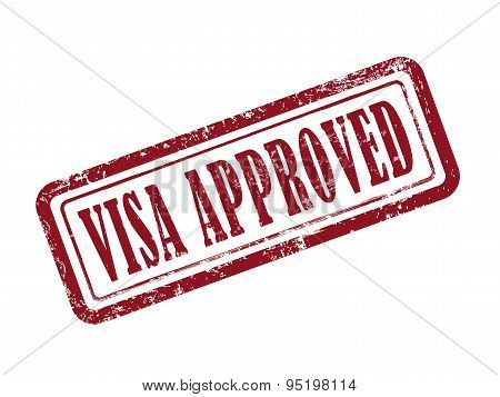Stamp Visa Approved In Red