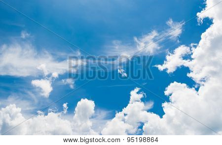 Image Of Clear Sky With White Clouds On Day Time For Background Usage