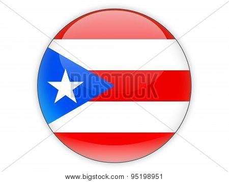 Round Icon With Flag Of Puerto Rico