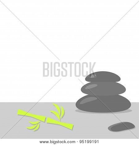 Spa Stones Pyramid Tower And Bamboo Stone Therapy White Background Flat Design