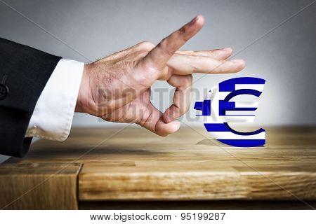 Man Shoots Greek Euro Sign Off