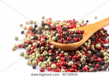 Pepper Seasoning Mix In Wooden Spoon