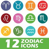 picture of pisces horoscope icon  - Twelve round colored icons with zodiac symbols - JPG