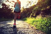 Runner athlete running on forest trail. woman fitness jogging workout wellness concept. poster