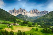 pic of south tyrol  - Countryside view of Santa Maddalena in National Park Puez Odle or Geisler summits. Dolomites South Tyrol. Location Bolzano Italy Europe. ** Note: Visible grain at 100%, best at smaller sizes - JPG