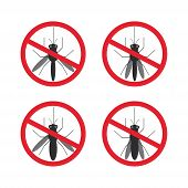 image of mosquito  - stop mosquito sign black in red circle Isolated - JPG