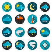 pic of rain  - Weather conditions signs rain cloud sun and temperature flat color icon set isolated vector illustration - JPG