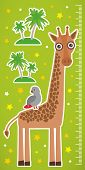 foto of measuring height  - Giraffe parrot bird and palms on green background Children height meter wall sticker - JPG