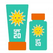 Постер, плакат: Tube Container Of Sun Cream Sunscreen Spf 20 The Blue Tube On White Background Summer Sun Tanning