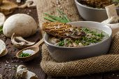 stock photo of whole-grain  - Mushroom soup with chive and herbs bio healthy whole - JPG