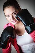 stock photo of martial arts girl  - Martial arts or self defence concept - JPG