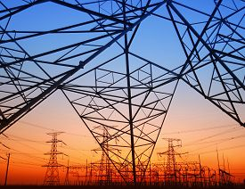 stock photo of electricity pylon  - The evening electricity pylon silhouette - JPG