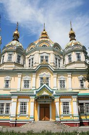 image of ascension  - Holy Ascension Cathedral is a Russian Orthodox churches located in Panfilov Park in Almaty - JPG