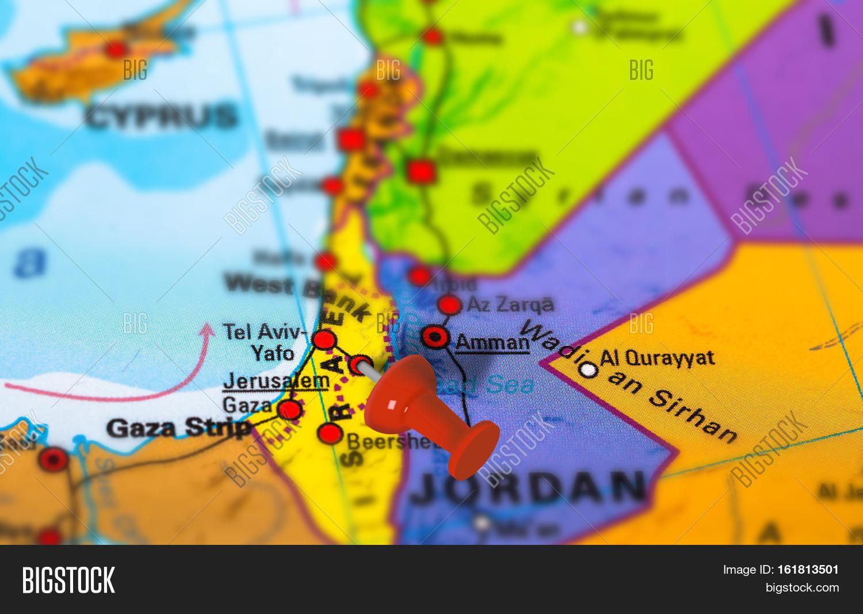 Jerusalem Israel Pinned On Colorful Image  Photo  Bigstock