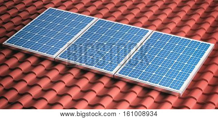 3D Rendering Red Roof With Solar Panels