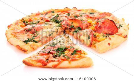Tasty Italian pizza over white