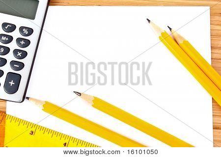 Pencils, paper, calculator and ruler