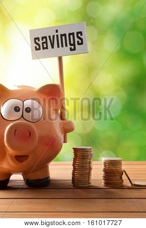 Piggy Bank With Savings Billboard On Table And Nature Vertical